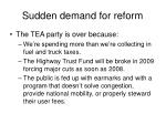 sudden demand for reform