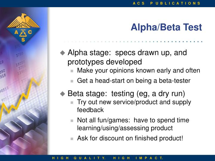 Alpha beta test