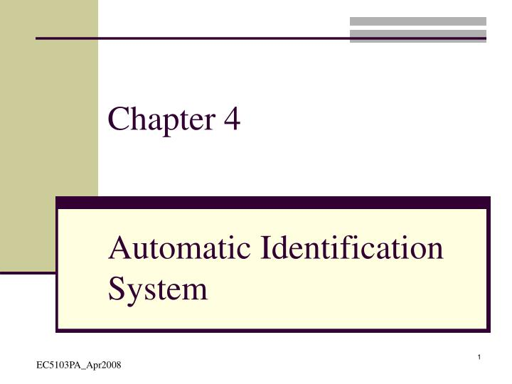 automatic identification system n.