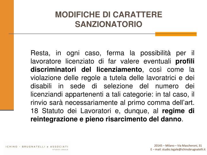 MODIFICHE DI CARATTERE SANZIONATORIO