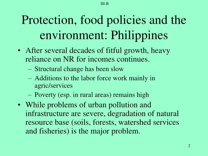 Protection food policies and the environment philippines
