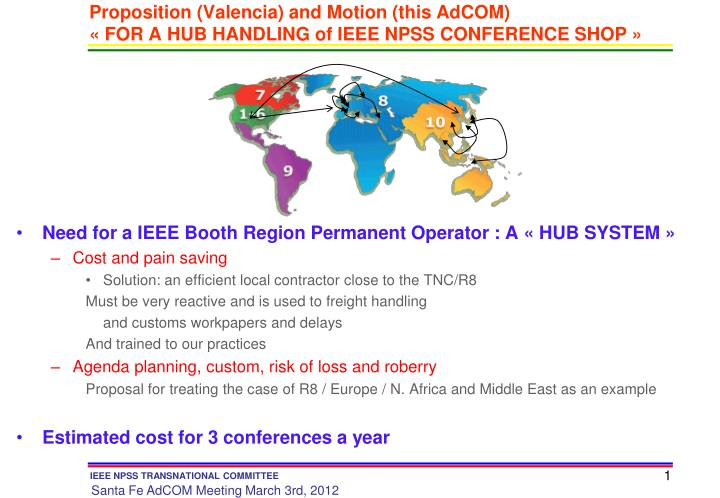 proposition valencia and motion this adcom for a hub handling of ieee npss conference shop n.