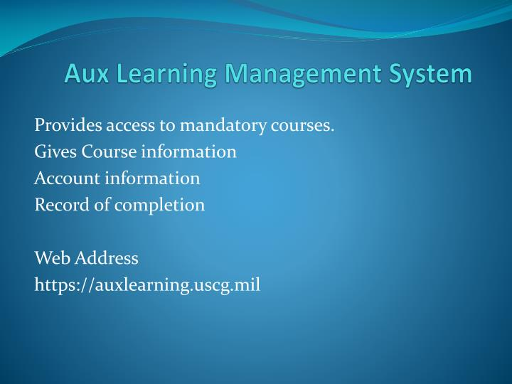aux learning management system n.