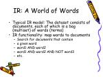 ir a world of words