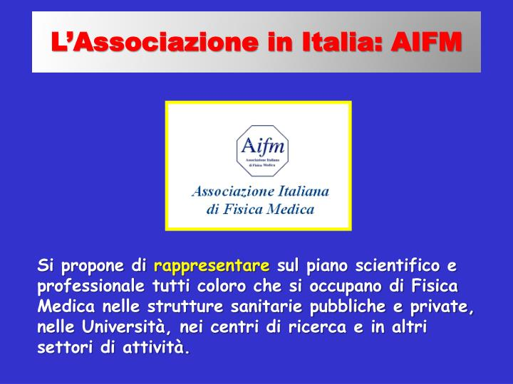 L'Associazione in Italia: AIFM