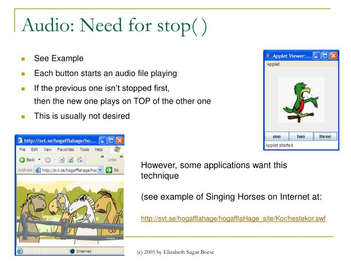 Audio: Need for stop( )
