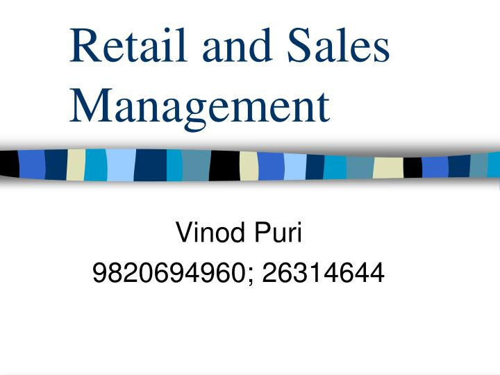 retail and sales management n.