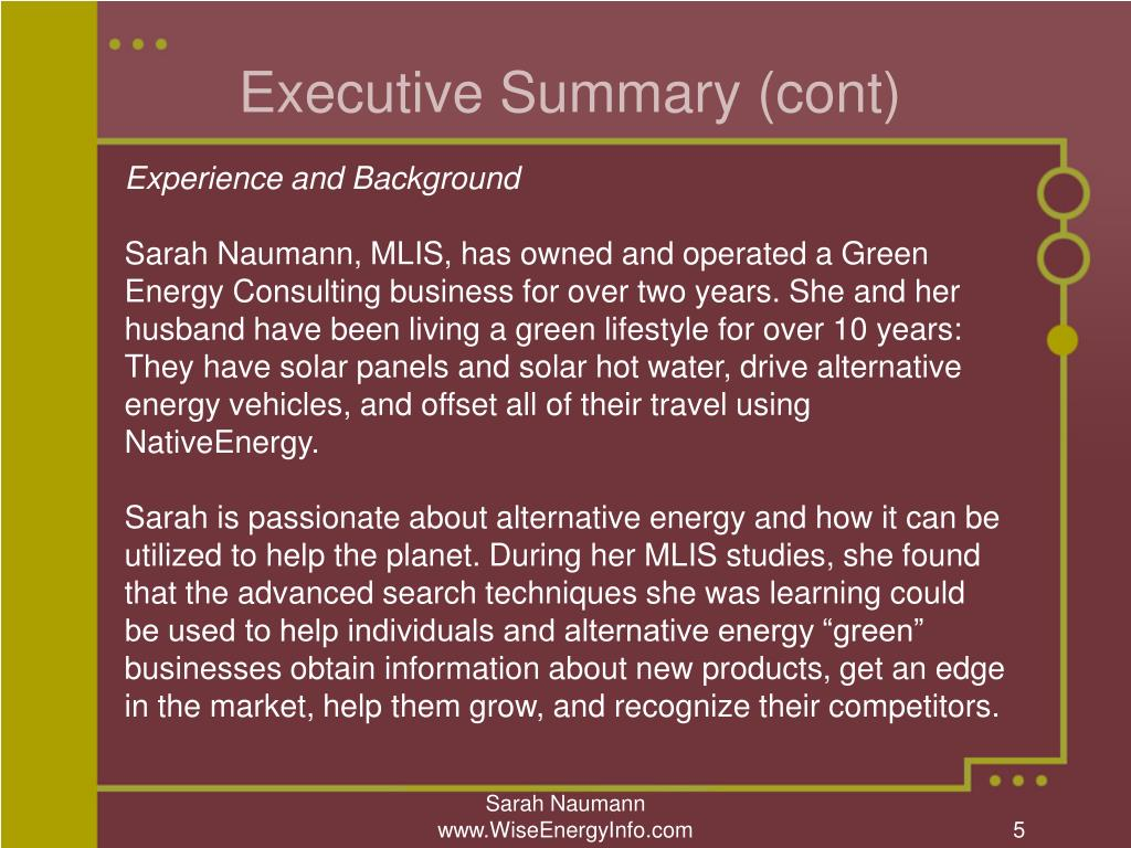 PPT - Wise Energy Information Services Sarah Naumann