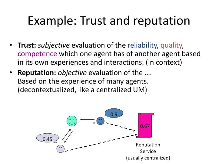 Example: Trust and reputation