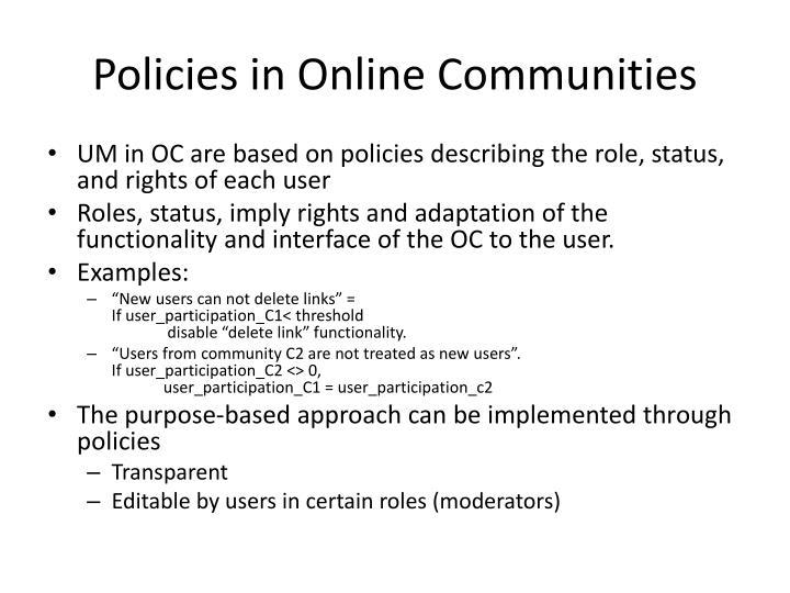 Policies in Online Communities