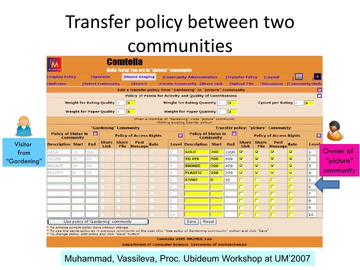 Transfer policy between two communities