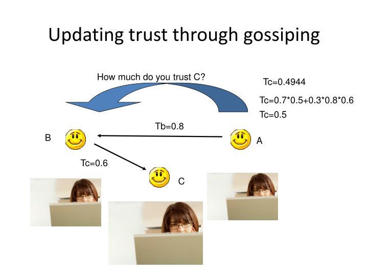 Updating trust through gossiping