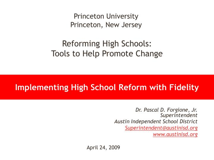 implementing high school reform with fidelity n.