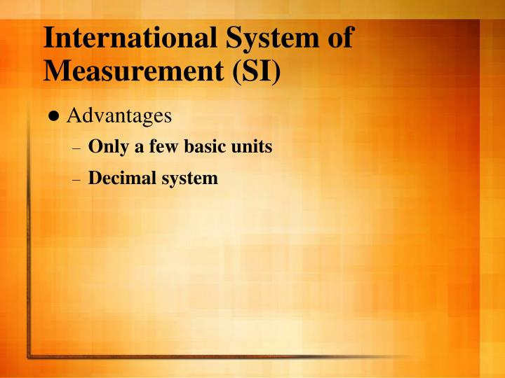 international system of units and decimal
