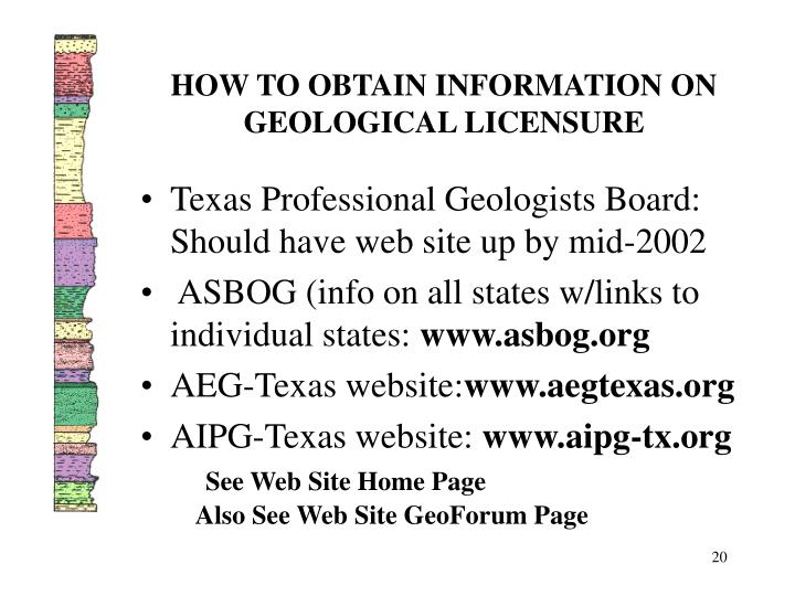 HOW TO OBTAIN INFORMATION ON GEOLOGICAL LICENSURE