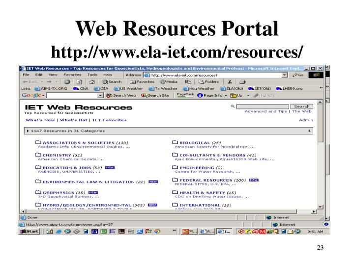 Web Resources Portal