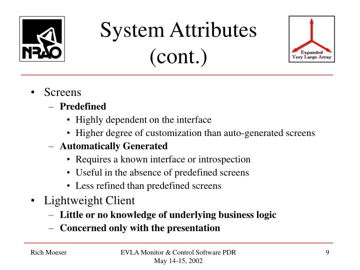 System Attributes (cont.)