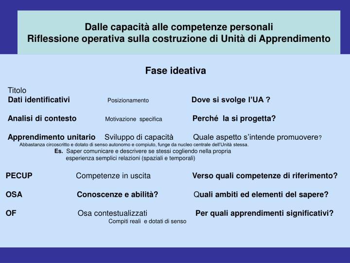 Dalle capacità alle competenze personali