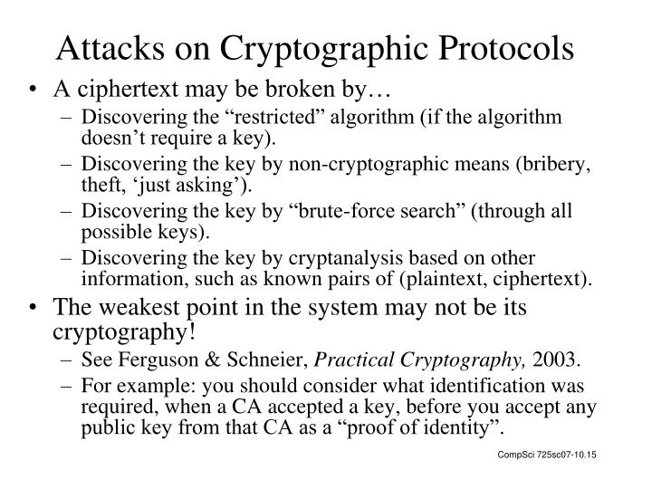 Attacks on Cryptographic Protocols