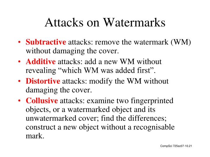 Attacks on Watermarks