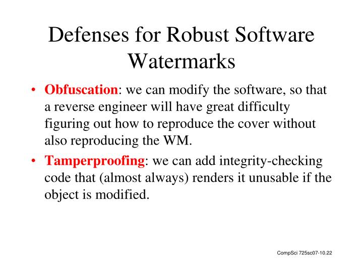 Defenses for Robust Software Watermarks