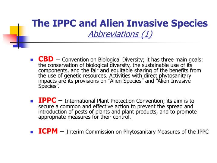 The ippc and alien invasive species abbreviations 1