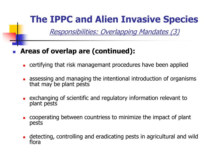 The IPPC and Alien Invasive Species