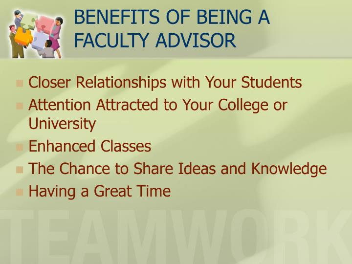 Benefits of being a faculty advisor