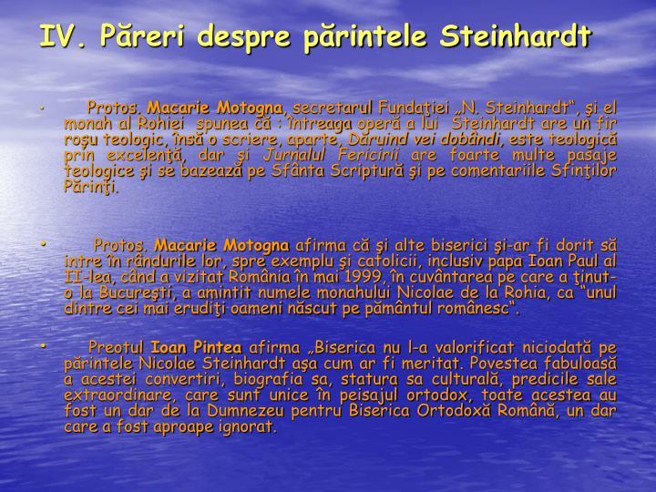 IV. Păreri despre părintele Steinhardt