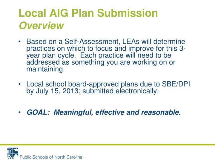 Local AIG Plan Submission