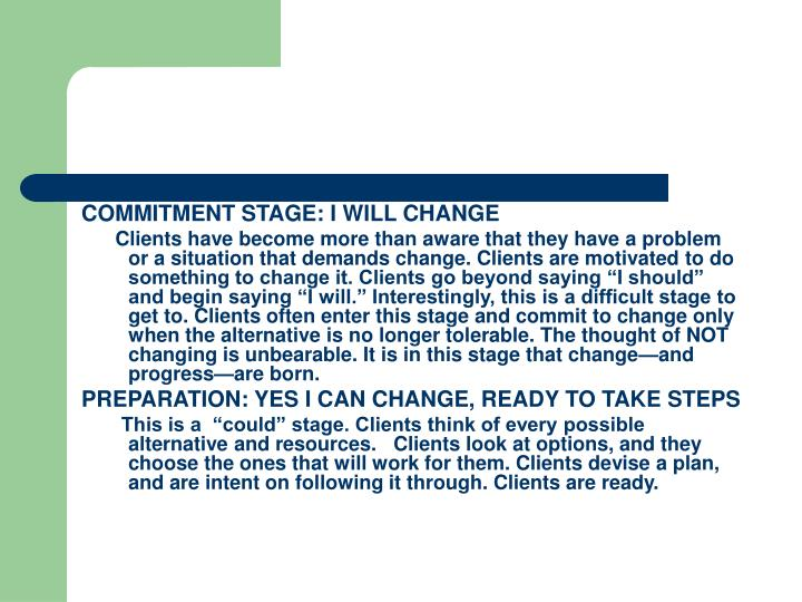 COMMITMENT STAGE: I WILL CHANGE