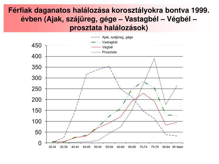 Férfiak daganatos halálozása korosztályokra bontva 1999. évben (Ajak, szájüreg, gége – Vastagbél – Végbél – prosztata halálozások)