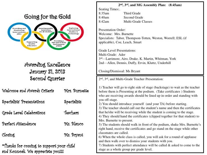 going for the gold awarding excellence january 31 2013 second quarter n.