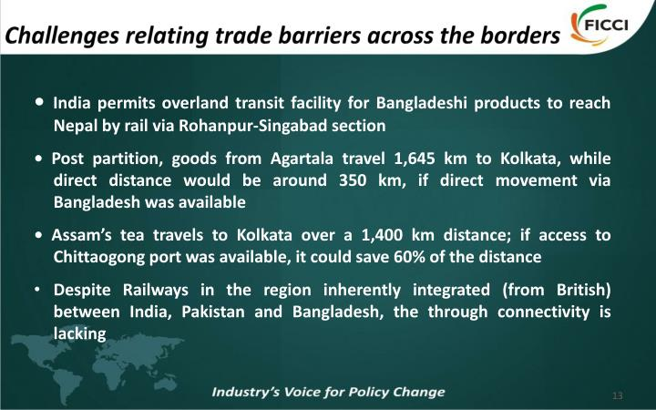 Challenges relating trade barriers across the borders