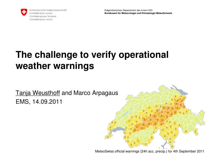 the challenge to verify operational weather warnings n.