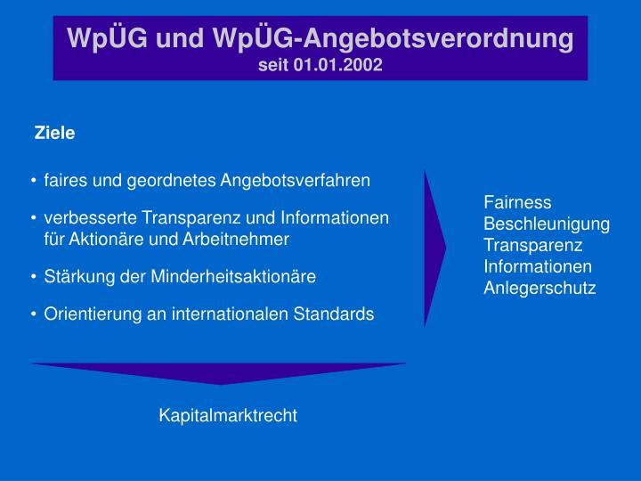 Wp g und wp g angebotsverordnung seit 01 01 2002
