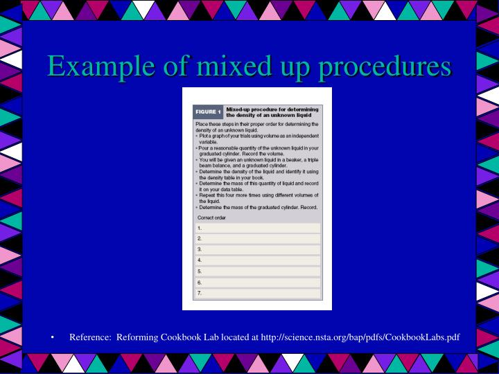 Example of mixed up procedures