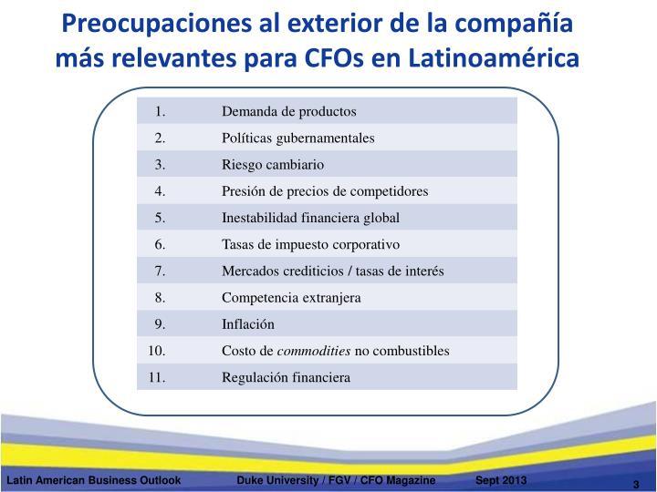 Preocupaciones al exterior de la compa a m s relevantes para cfos en latinoam rica