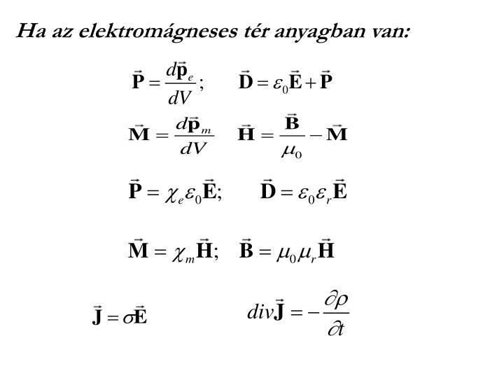Ha az elektromágneses tér anyagban van: