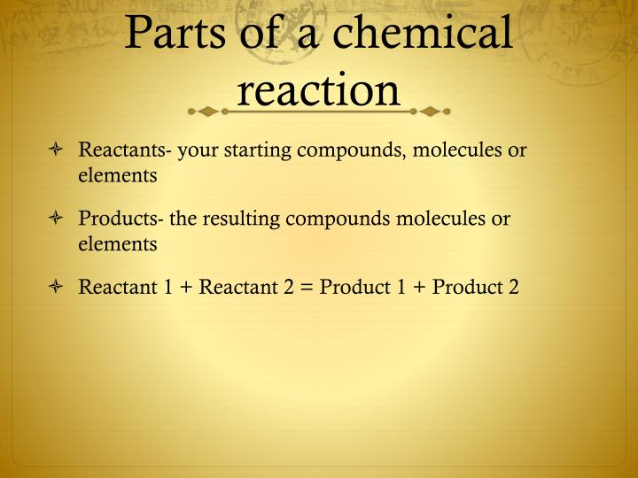 an analysis of chemical reaction and id reactants Here the analysis starts from the products, for example by splitting selected chemical bonds, to arrive at plausible initial reagents a special arrow (⇒) is used in retro reactions elementary reactions the elementary reaction is the smallest division into which a chemical reaction can be decomposed, it has no intermediate products.