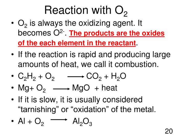Reaction with O