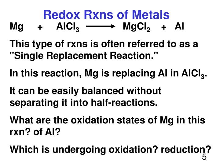 Redox Rxns of Metals