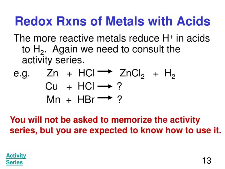 Redox Rxns of Metals with Acids