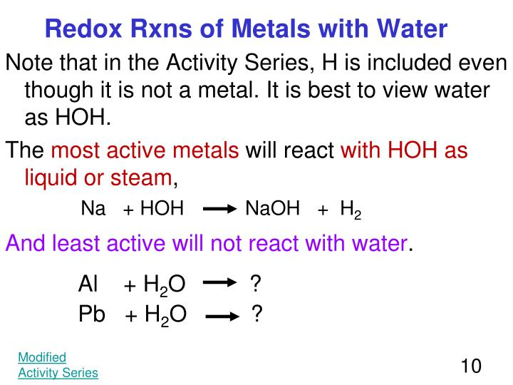 Redox Rxns of Metals with Water