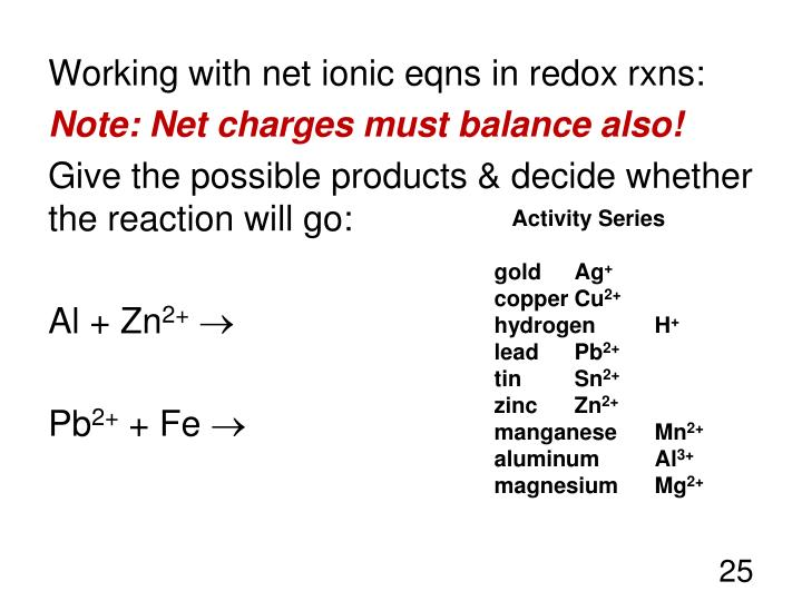 Working with net ionic eqns in redox rxns: