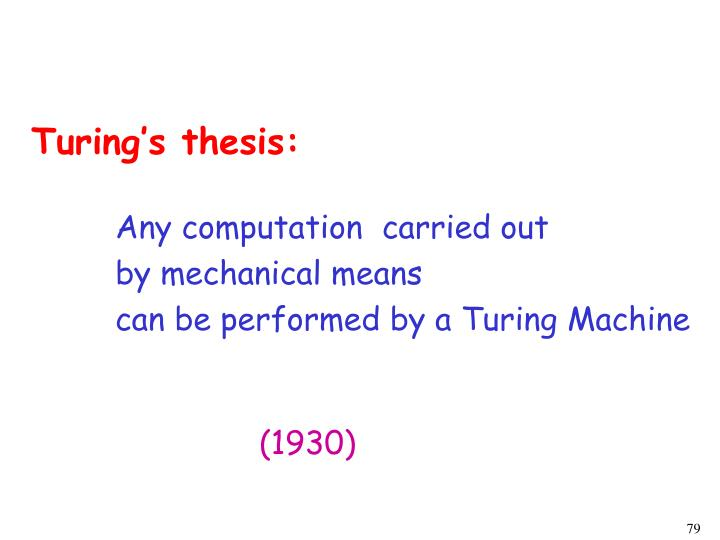 Turing's thesis: