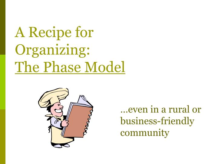 A recipe for organizing the phase model