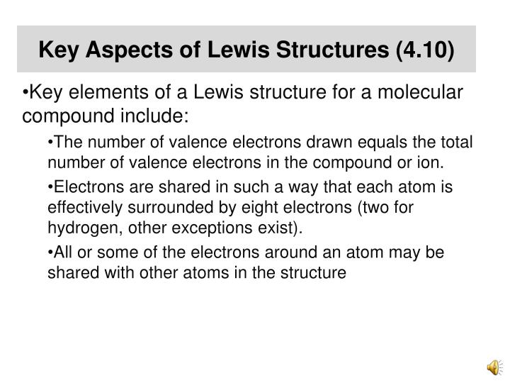 Key Aspects of Lewis Structures (4.10)
