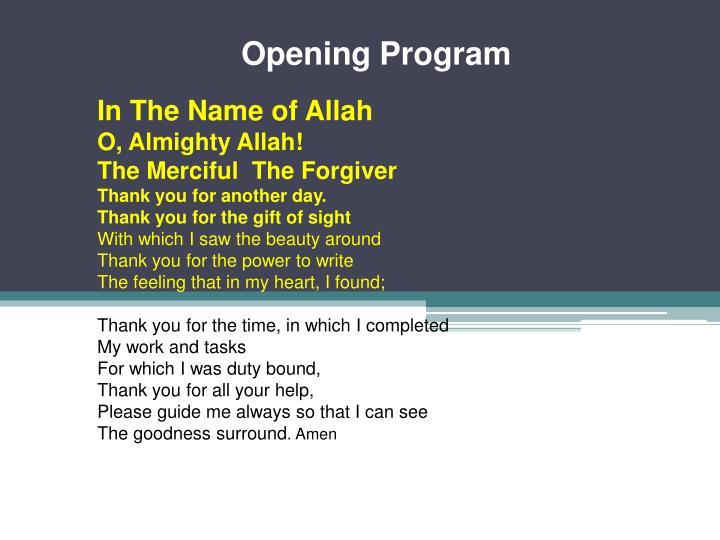 Opening Program