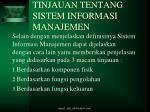 tinjauan tentang sistem informasi manajemen